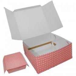 Kırmızı Beyaz Puantiyeli Pasta kutusu (5 adet) 40x45x15