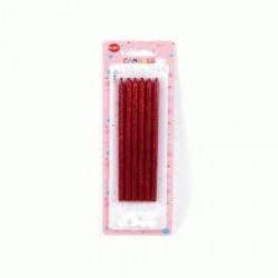 Uzun Simli Kırmızı Mum 6'lı