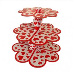Beyaz Kırmızılı Kalp Stand